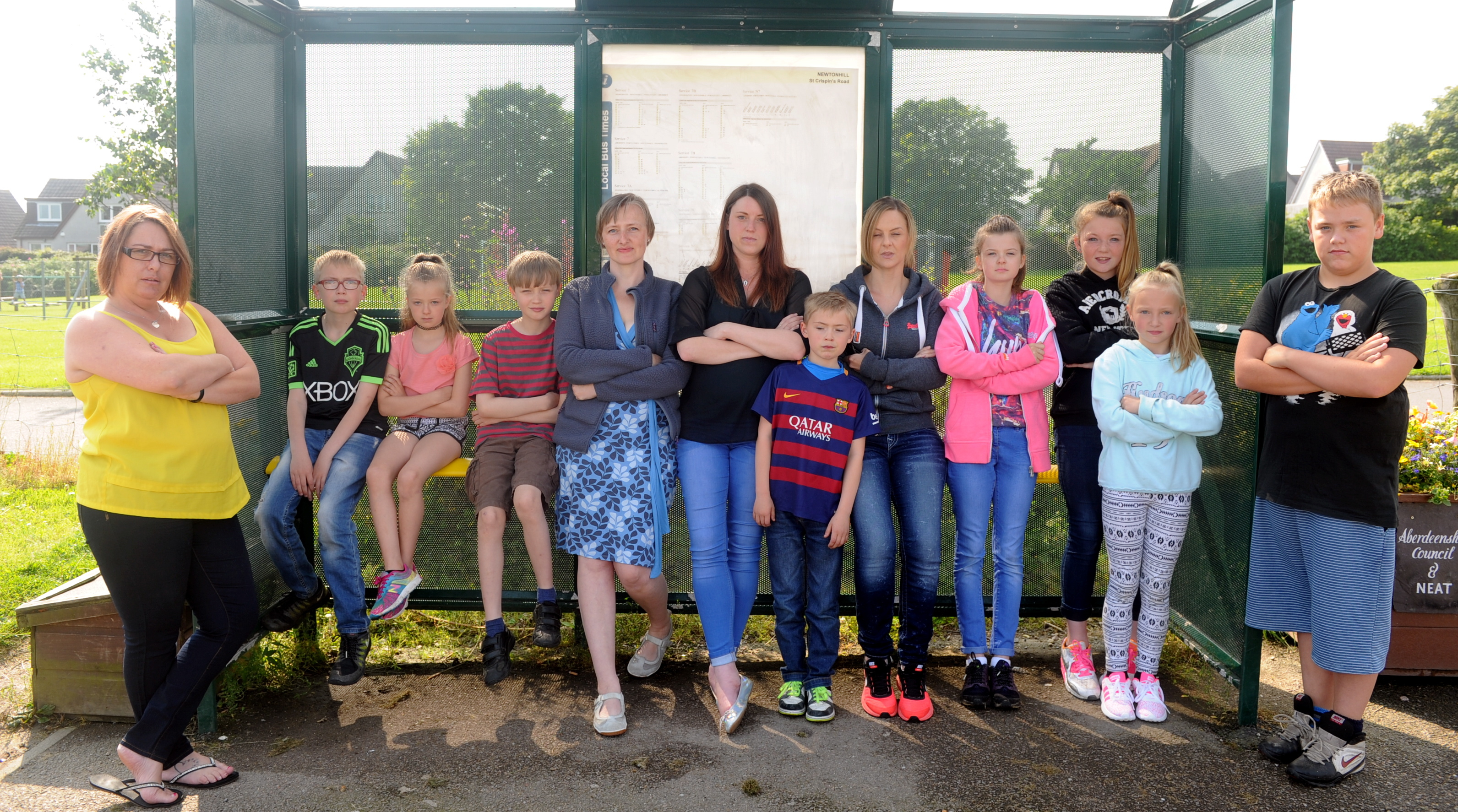 From left, Lee Erskine, Lucas Convery, 12, Macey Hadingham, 8, Euan Russell, 8, Mags Russell, Lisa Convery, Miller Convery, 8, Jill Hadingham, Bethany Hadingham, 12, Lauren Ellis, 12, Vilte Norwood, 9 and Chay Erskine, 12.