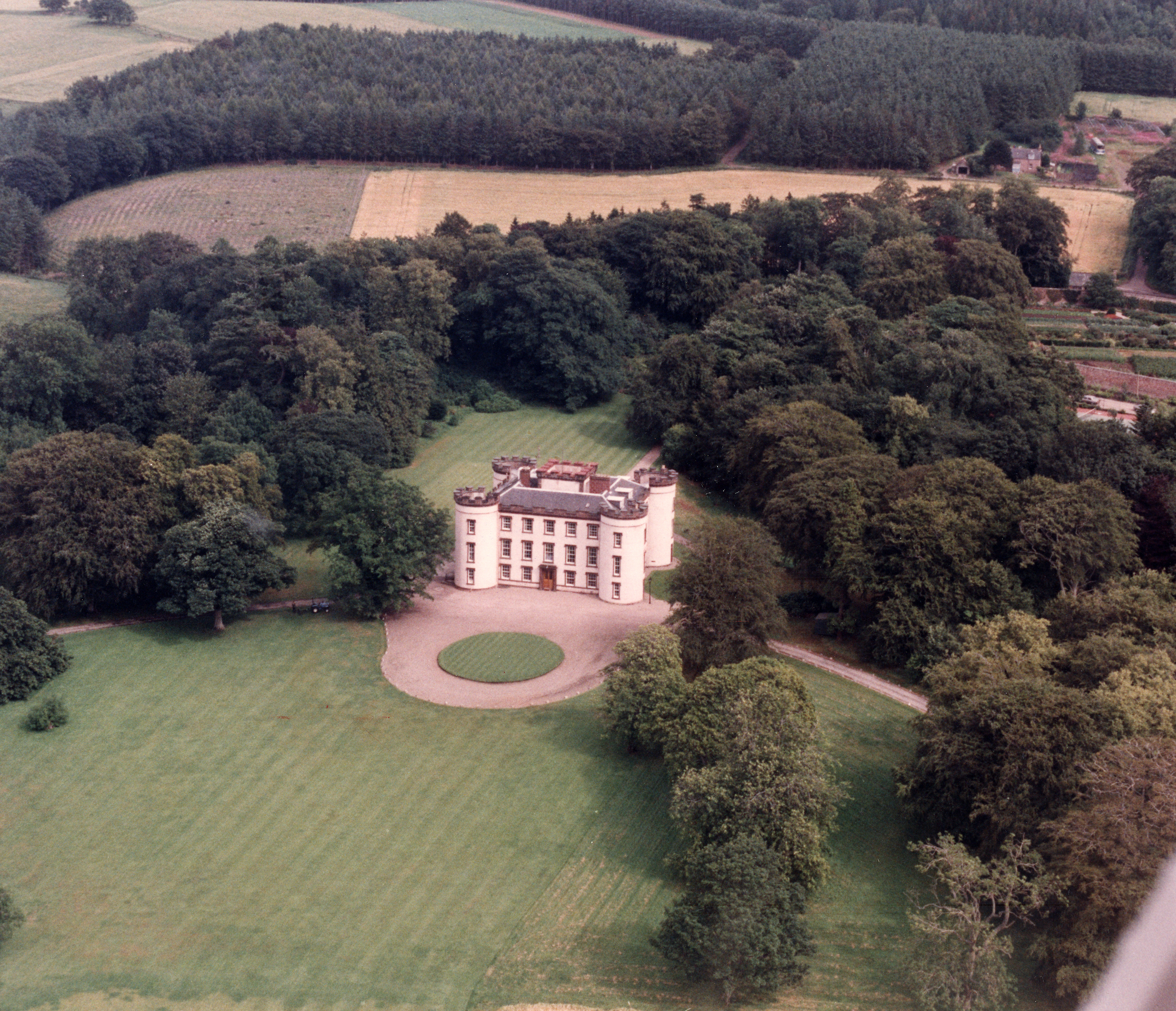An aerial view showing the extensive grounds of Hatton Castle, near Turriff.