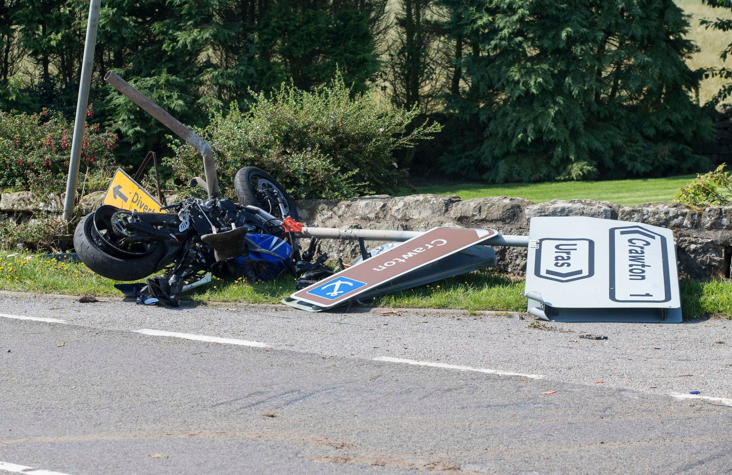 The motorbike hit a road sign on the A92 today
