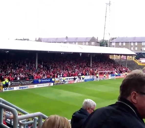 Dons fans go crazy at Tannadice . Picture from @AwayDays_