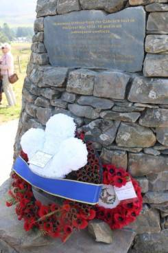 A wreath laid by the Prince of Wales during a visit to Cabrach Cairn