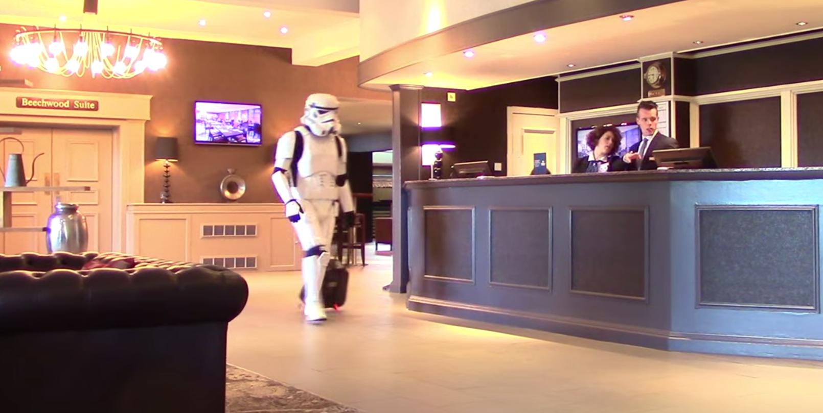 A Stormtrooper checks out the Hilton Tree Tops in the Granite City Comic-Con video