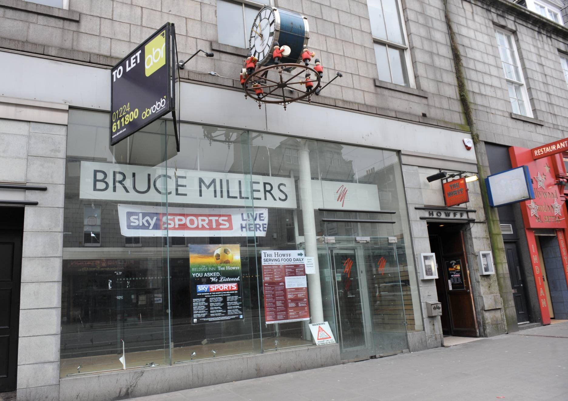 The former Bruce Millers shop on Union Street, Aberdeen