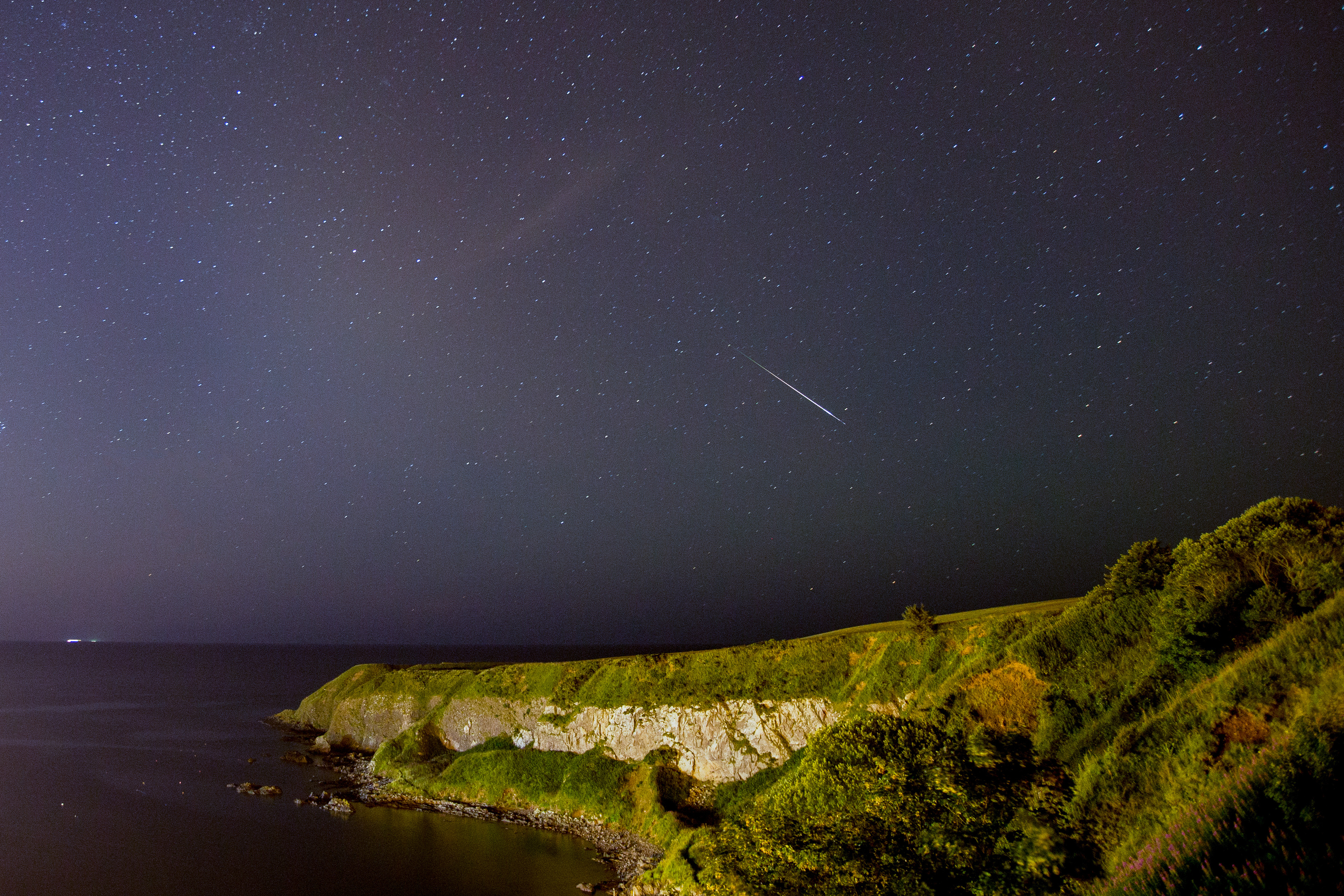 Perseid Meteor over Downies Point in Stonehaven. Picture by Brian Doyle.