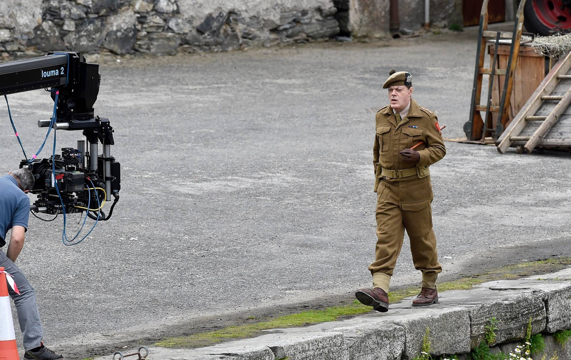 Eddie Izzard on the set of Whisky Galore in Portsoy