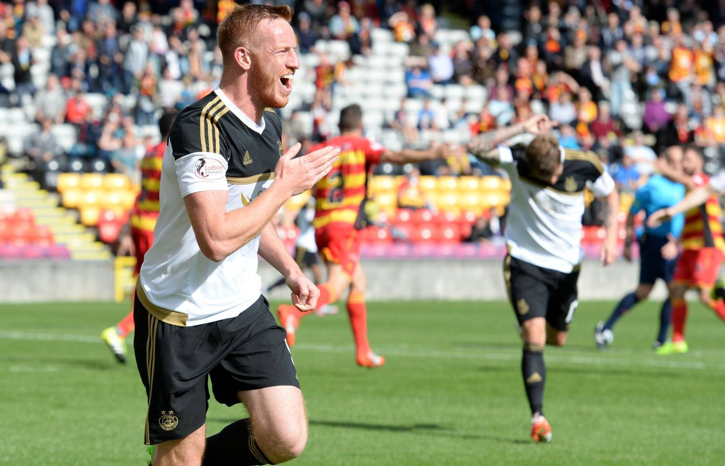 Aberdeen's Adam Rooney celebrates his goal