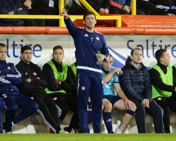 Hamilton player/manager Martin Canning gives instructions from the technical area