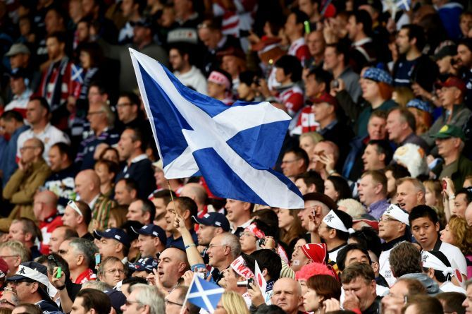 A saltire flys high in the stands.