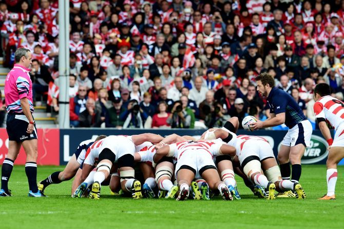 Scotland's Greig Laidlaw plays into the scrum.