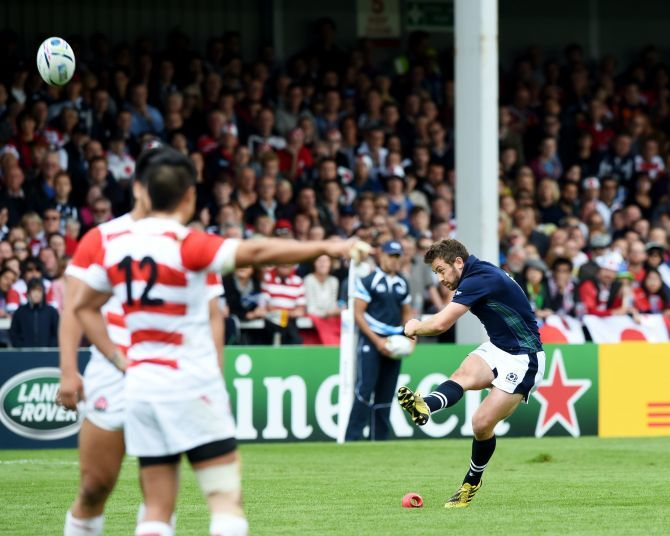 Scotland's Greig Laidlaw scores a second penalty.