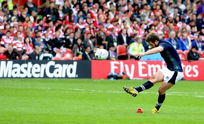 Scotland's Greig Laidlaw with the conversion.
