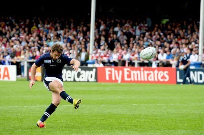 Greig Laidlaw converts Scotland team-mate Tommy Seymour's try.