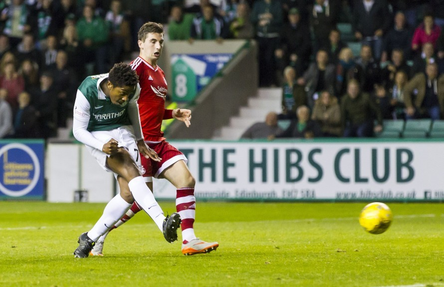 Hibernian's Dominique Malonga slots home his side's second goal of the game