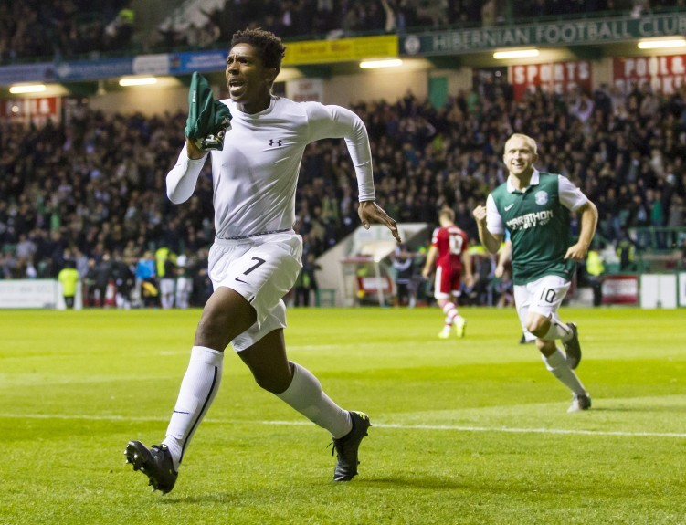 Hibernian's Dominique Malonga celebrates his goal