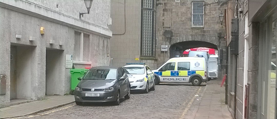 Police were today at the scene after a man fell from a window and died.