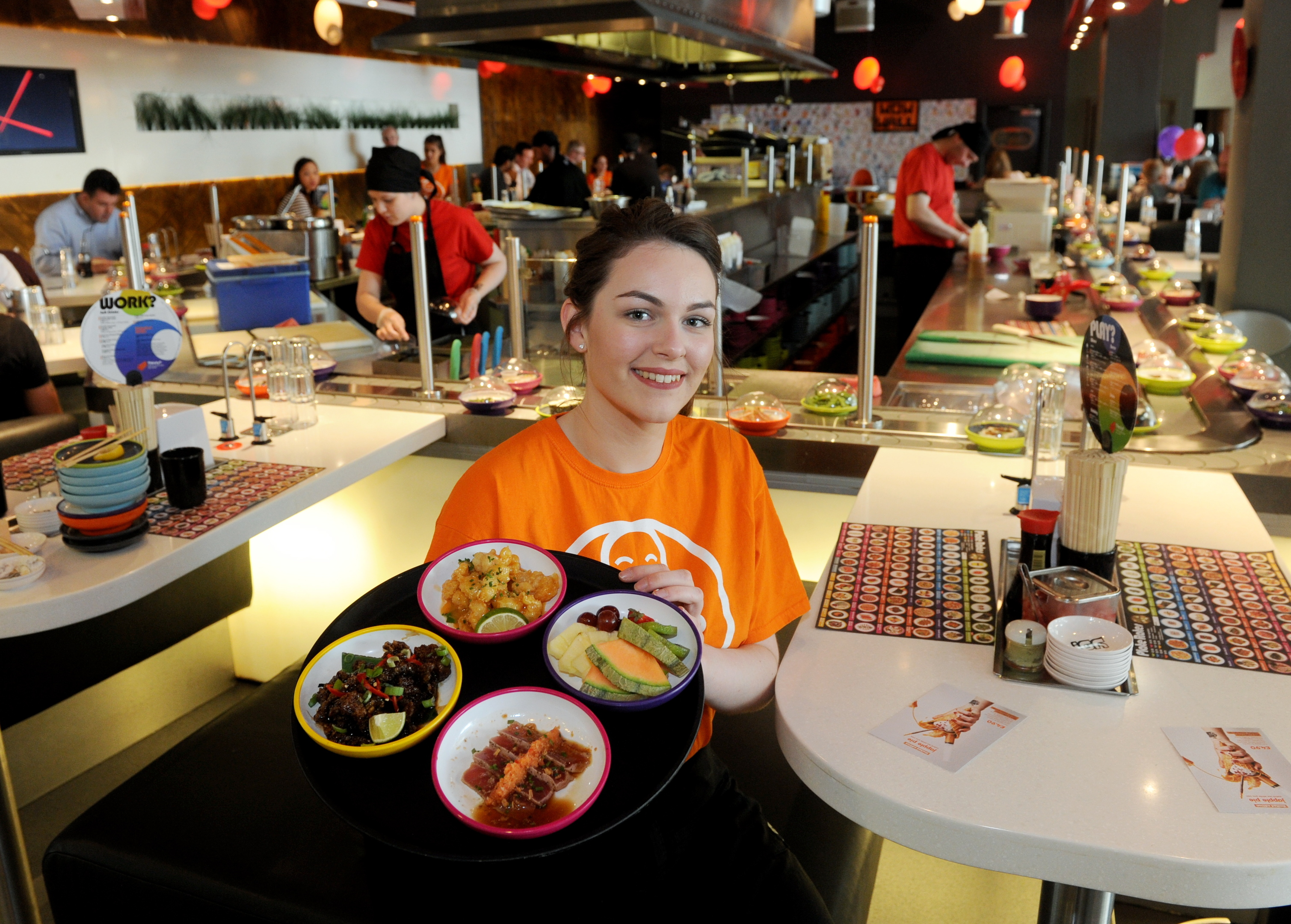Hayley Kennedy with some of the  dishes at YO Sushi!