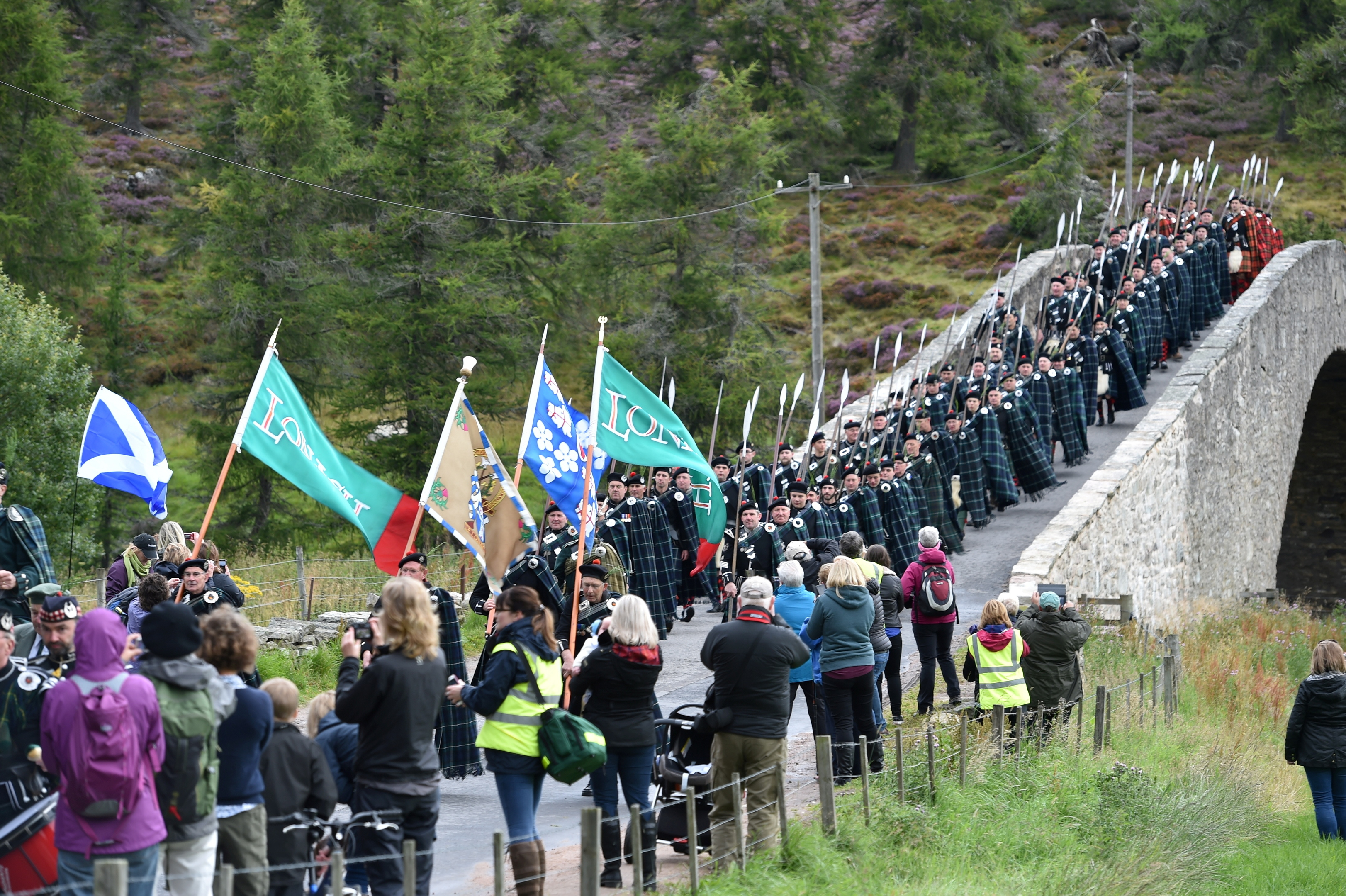 The Lonach Highlanders marched from Strathdon to Braemar and were to parade for the Queen today.