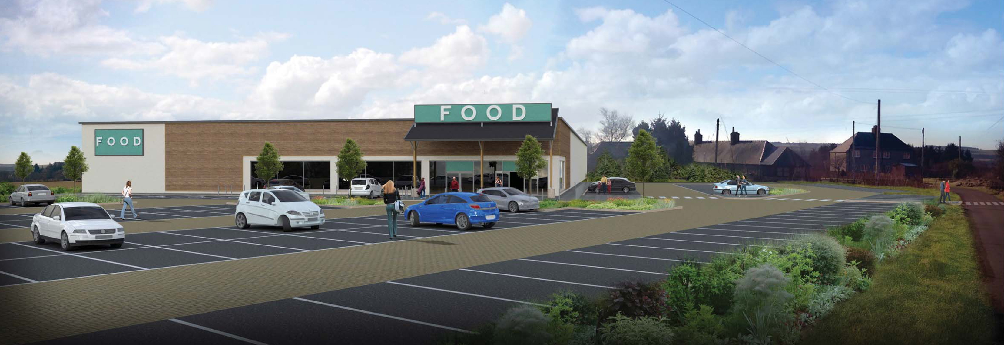 An artist impression of the planned supermarket at Mains of Ury.