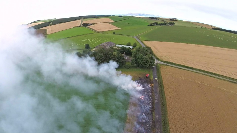 An aerial view of the aftermath of the fire at Mill of Burns Farm. Picture by Dominic Cooper and Elizabeth Dawson
