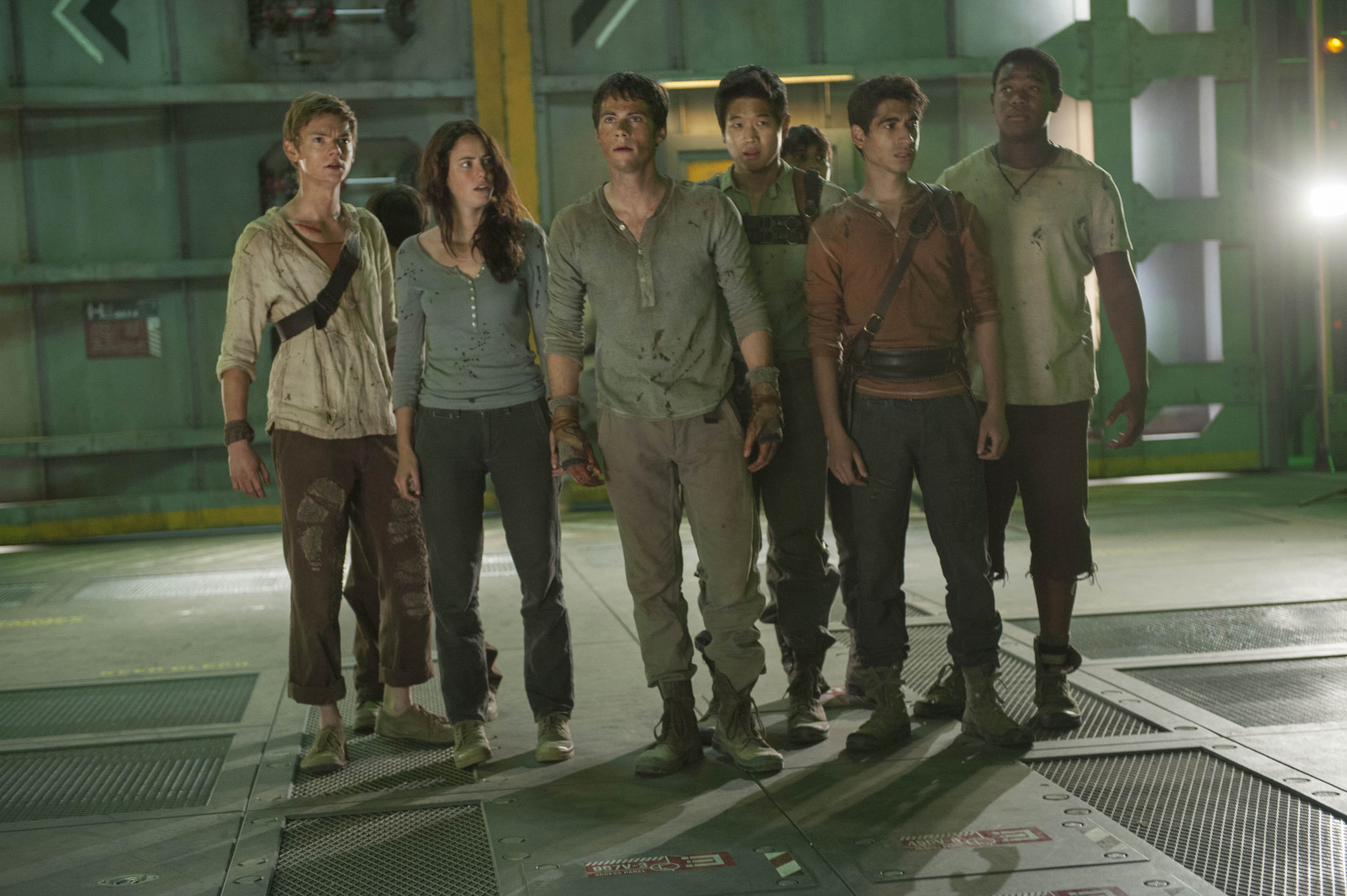 The cast of Maze Runner: The Scorch Trials, who are forced to flee from the zombie-like Cranks and the shady W.C.K.D.