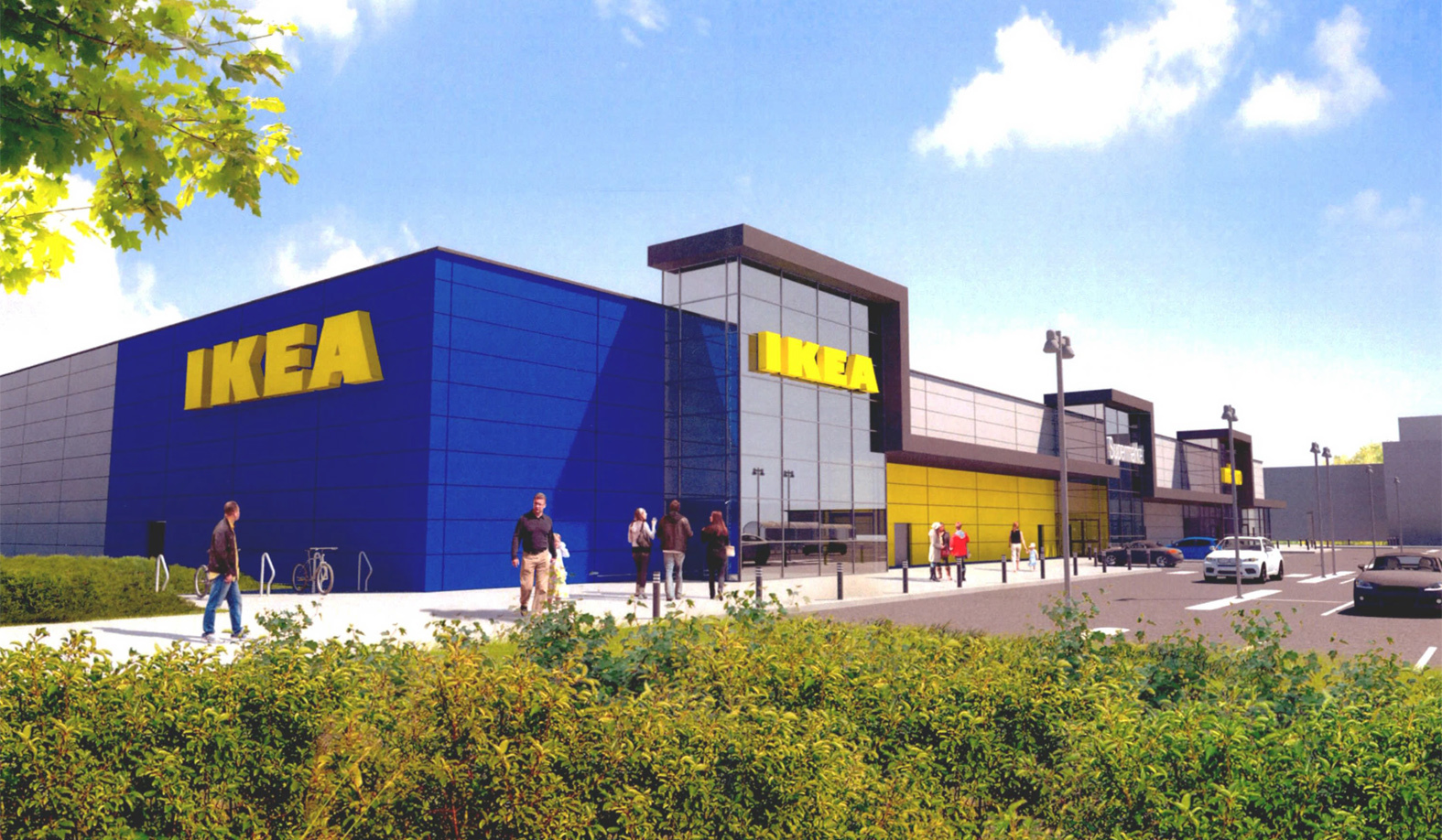 An artist's impression of the planned IKEA store at Wellington Circle.