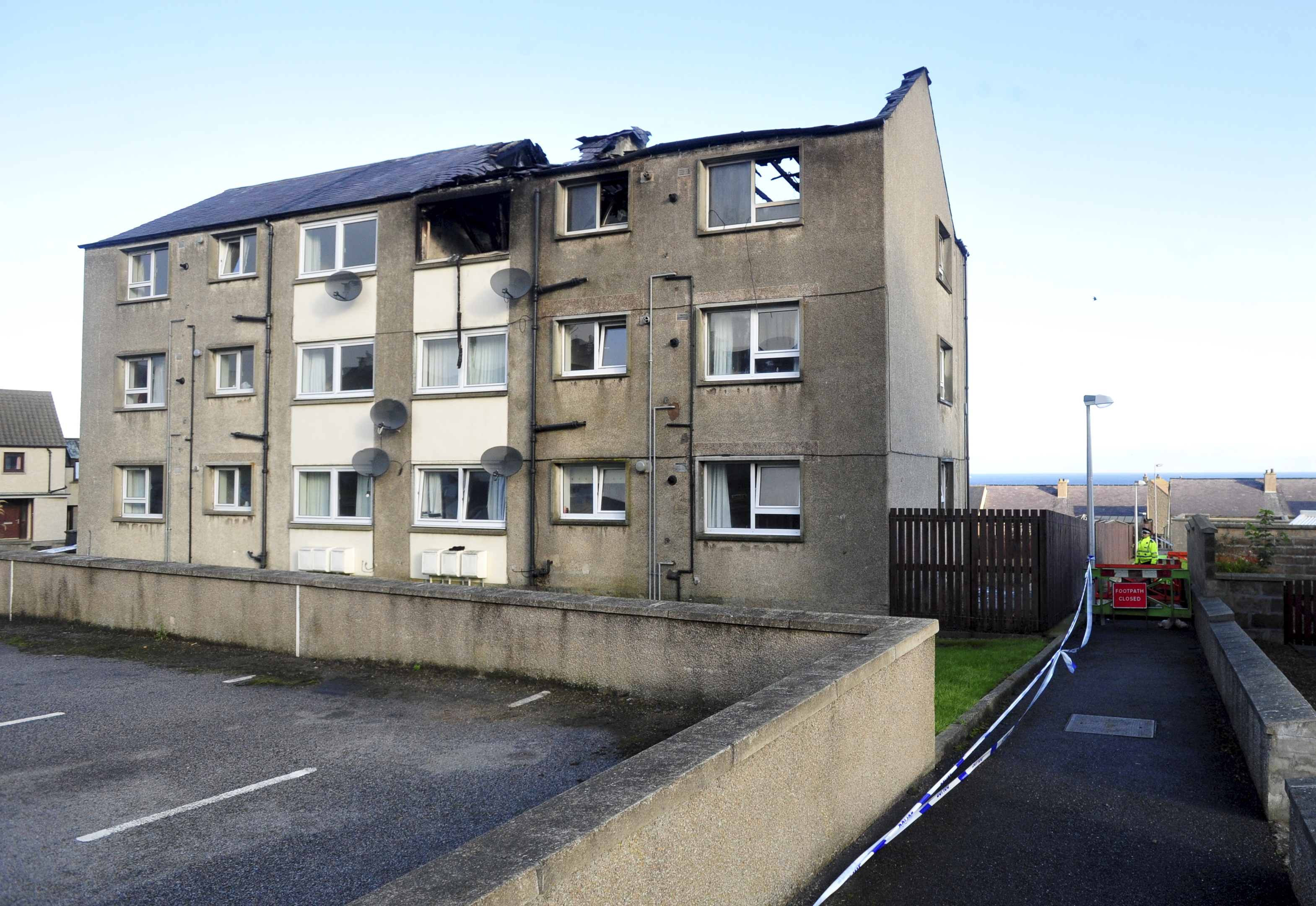The damaged block of flats after the fire in Macduff's Newtown Drive.