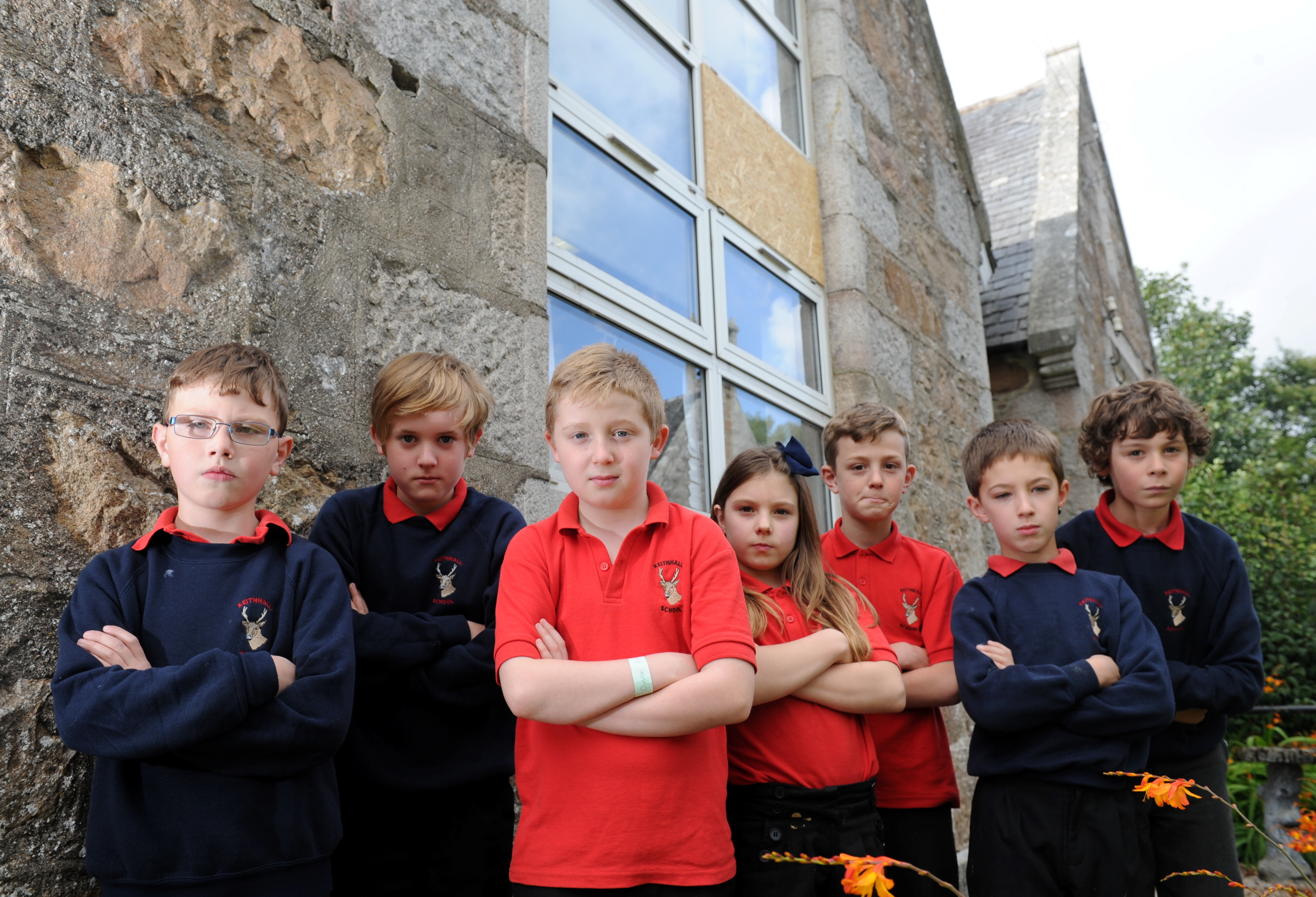 Keithhall Primary had a window smashed. Pupils from left, Aidan Leslie, George Walker, Lewis Archibald, Emily Cook, Lyndon Sommer, Jake Bousfield and Alex Goodwin.