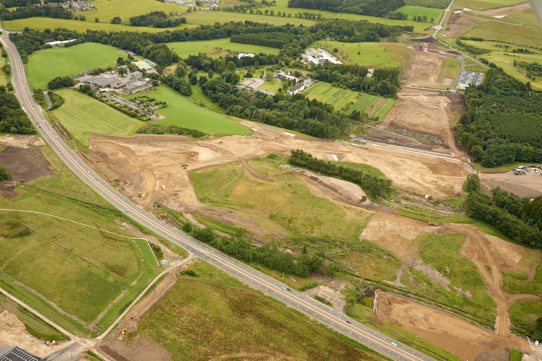 Aerial images show the work taking place at the A96 at Craibstone