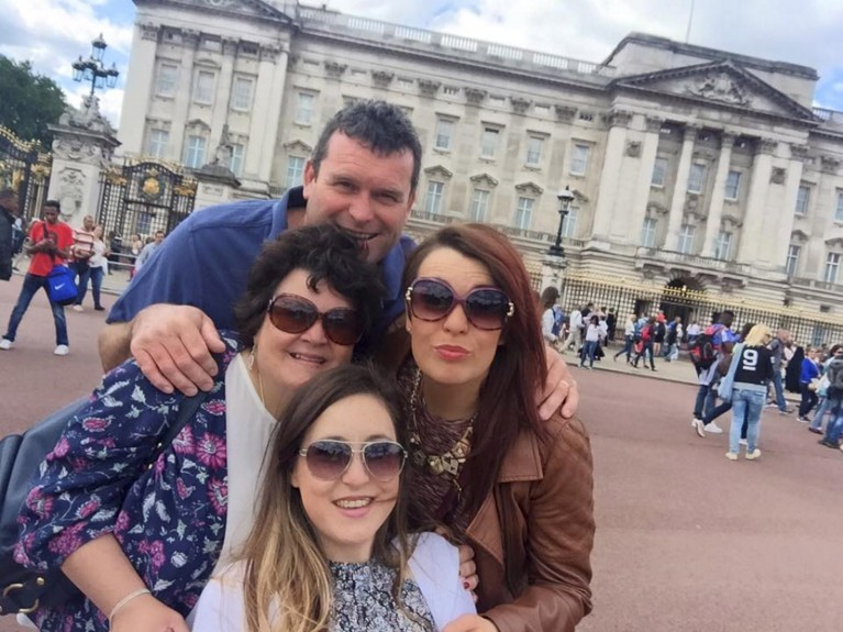 Vickie, front, with dad Stephen, mum Joan and sister Kirsty on a trip to London in July.