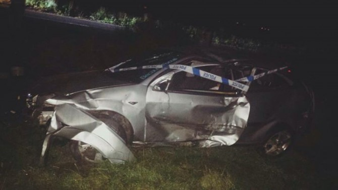 The wreckage of Chris Boyles car after it crashed on the B979.