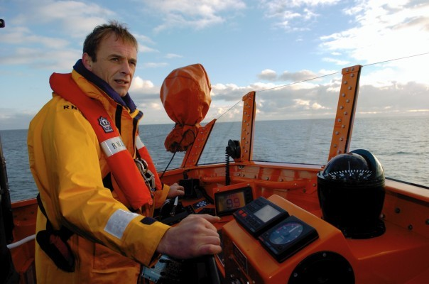 Rod McGillivray at the helm of lifeboat Bon Accord.
