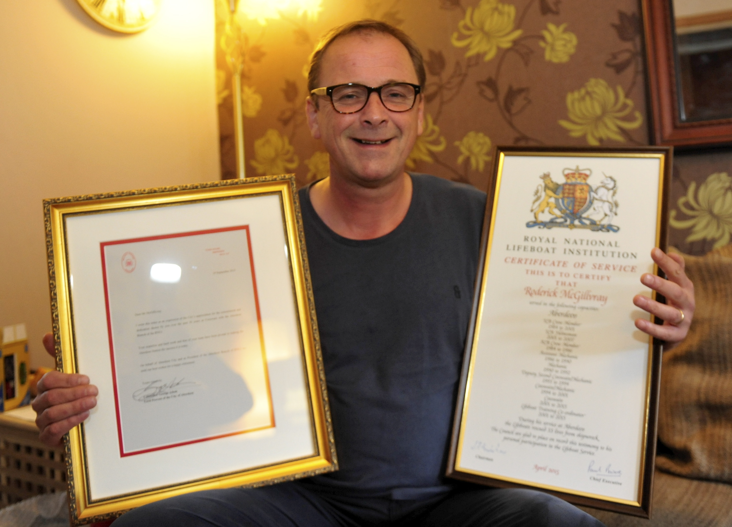 Rod with his service awards