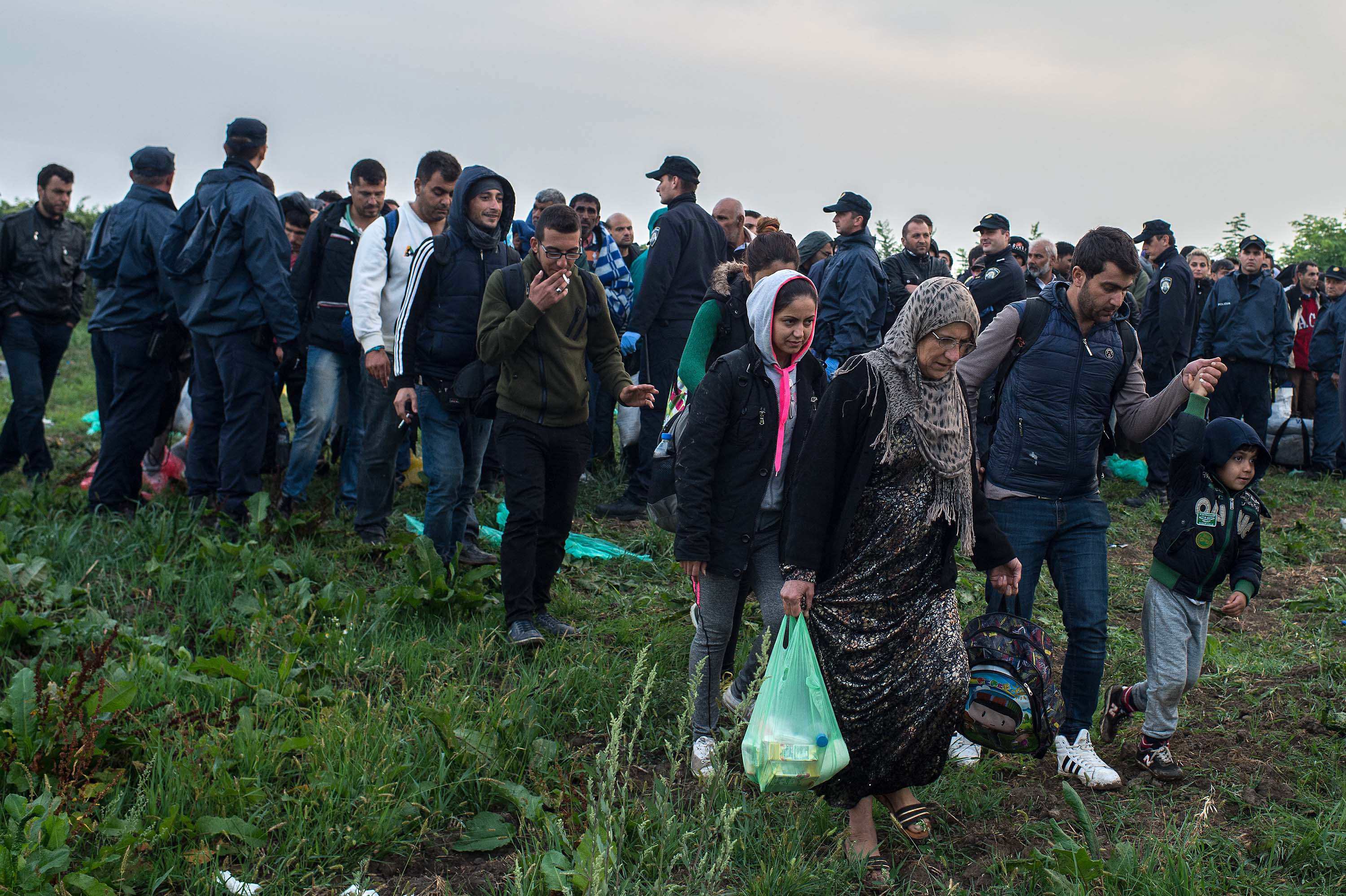 Migrants heading to a refugee transit camp in Croatia.