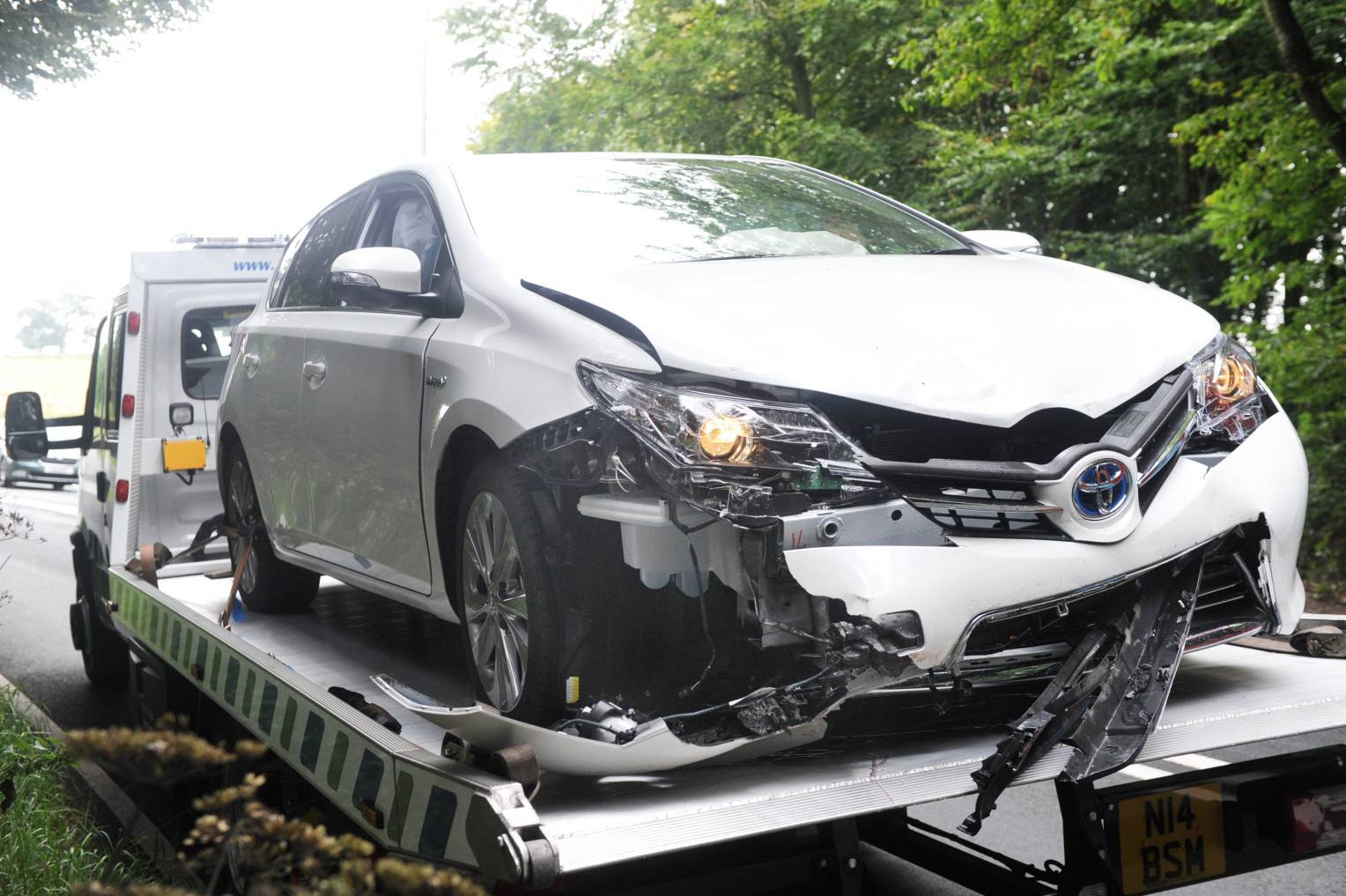 A Toyota was involved in the collision on the A957.