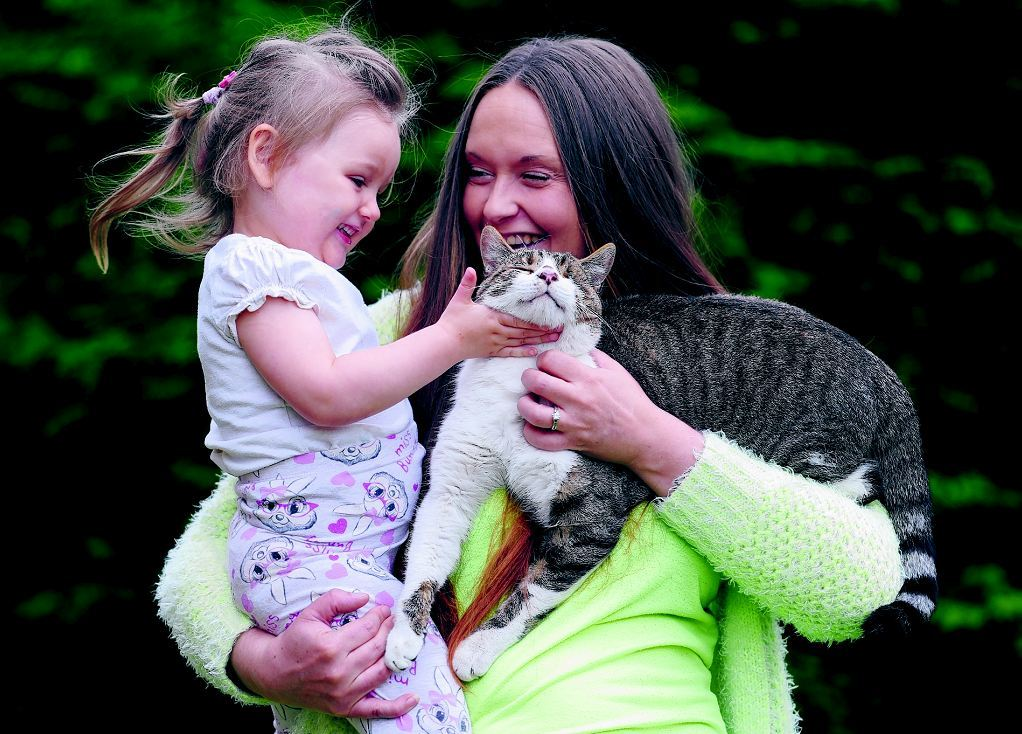 Pictured is Natalie Mallette, Sienna Cox, 2, with their cat Kaiser who was trapped for over two weeks.