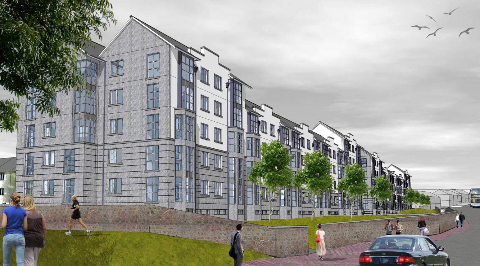 An artist impression of the planned flats at the Cornhill site.
