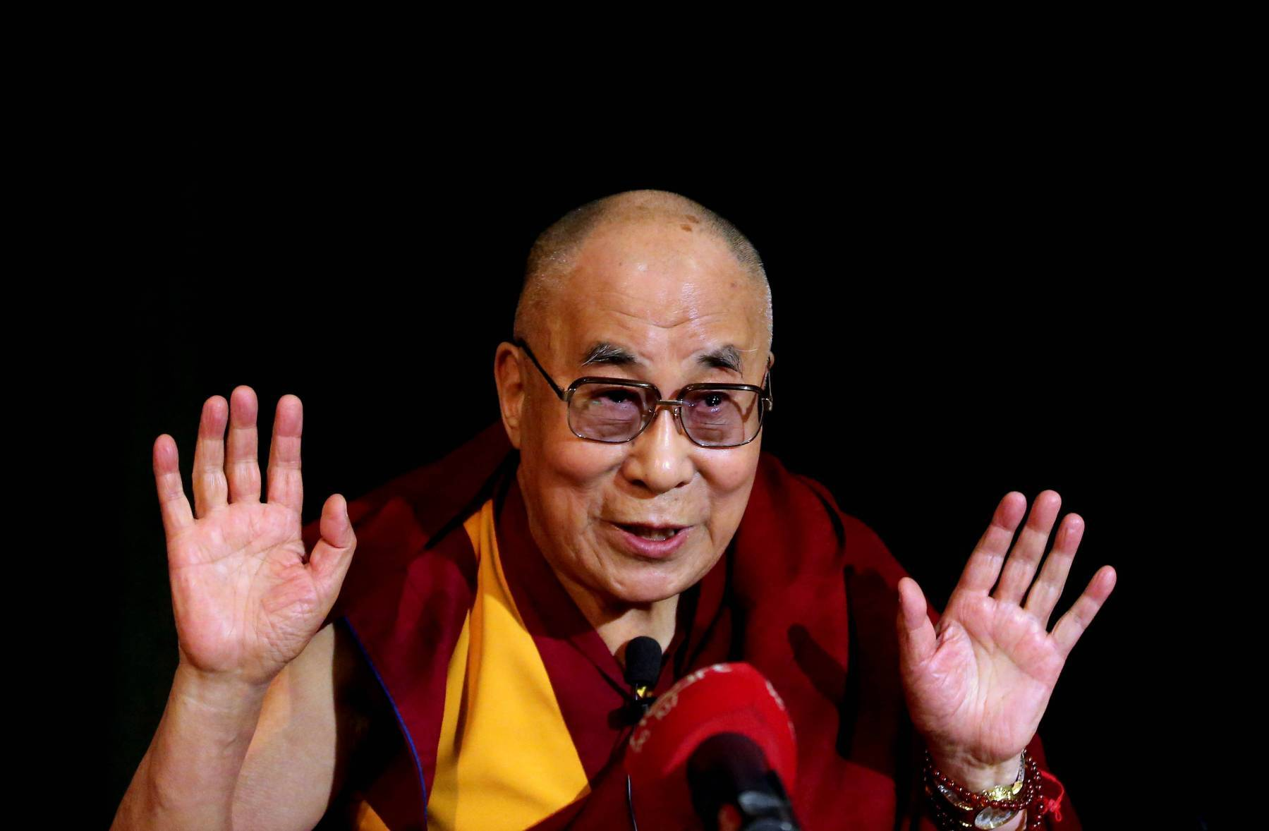 The Dalai Lama speaks during a press conference at Magdalen College, Oxford University, at the start of a 10-day UK visit.