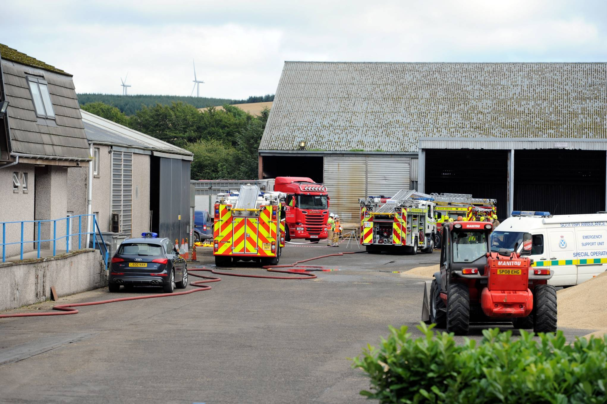 Firefighters at the scene of today's fire at East Coast Viners Animal Nutrition, Drumlithie.