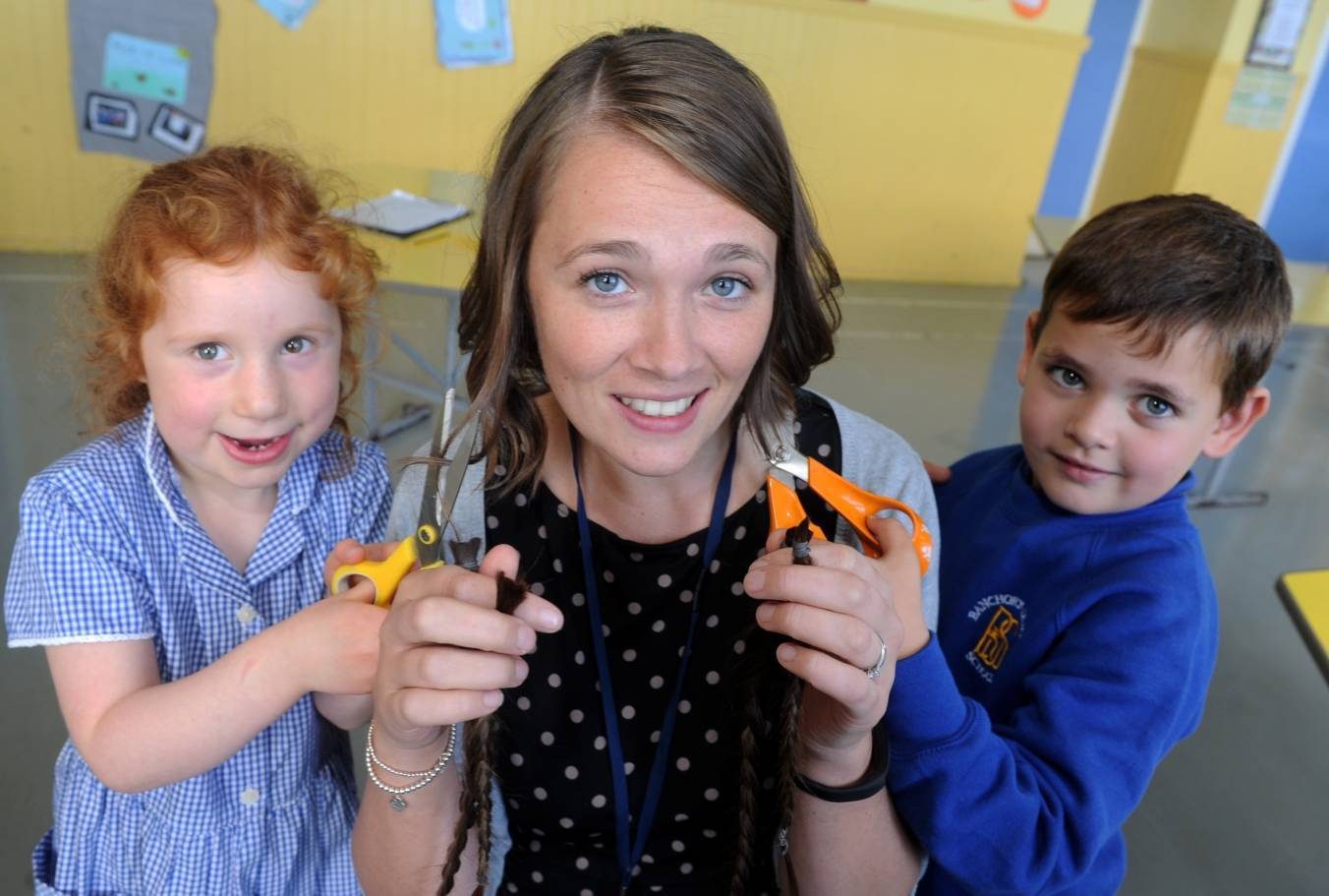 Michelle Taylor with pupils Isla Camm, left, and Kyle Currie, both six.