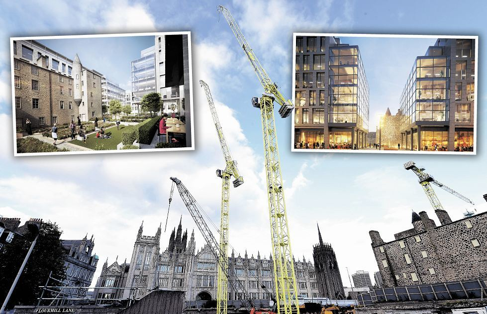 The Marischal development now and artist impressions of how the finished site could look.