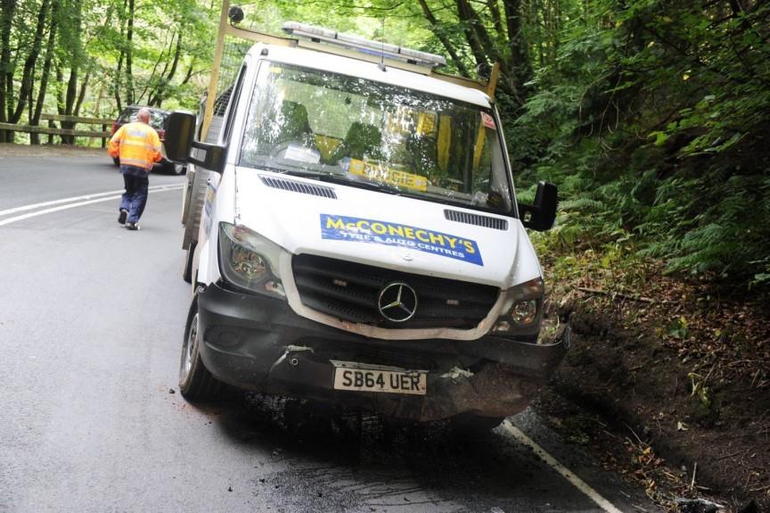 The white van involved in the crash.