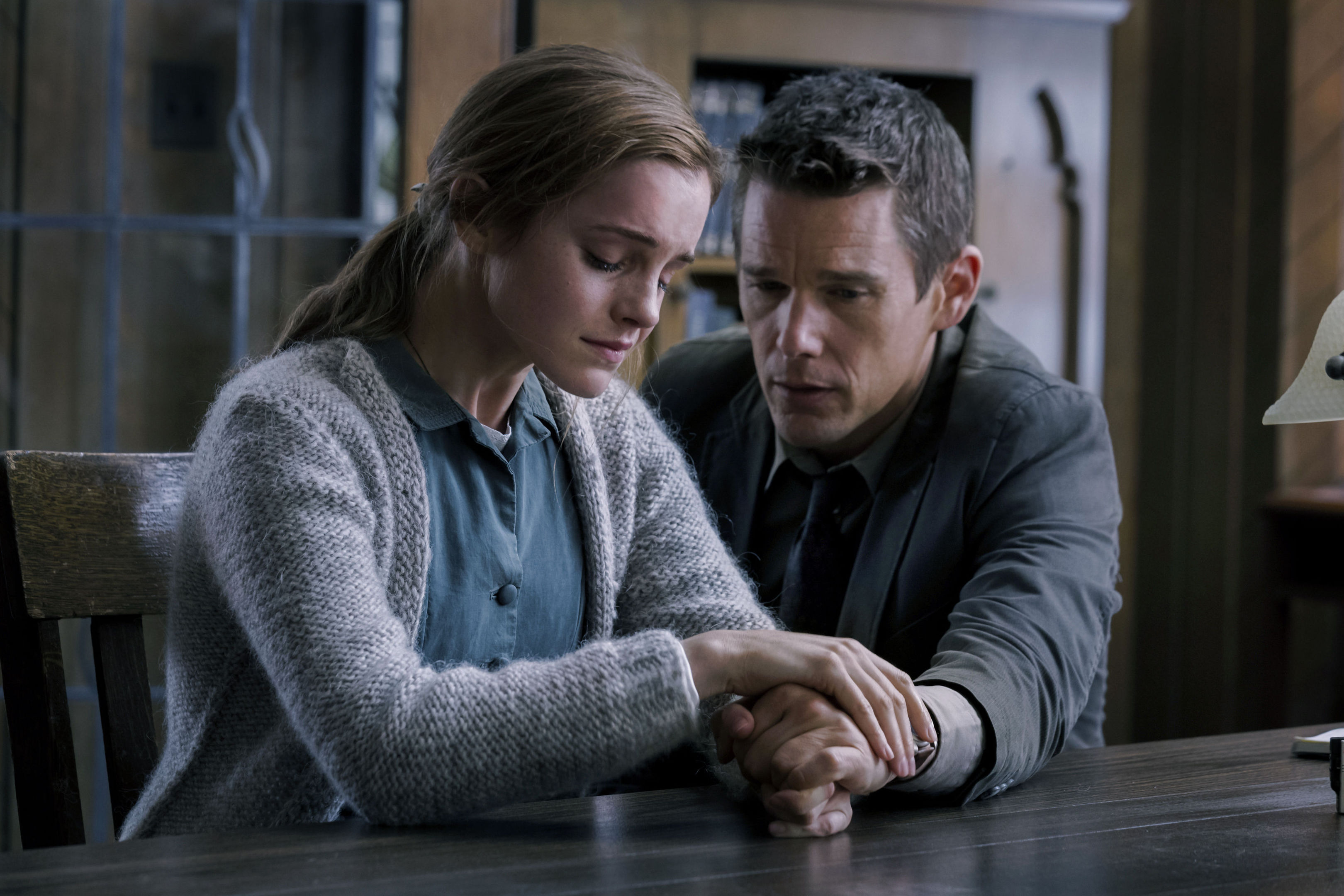 Emma Watson and Ethan Hawke in a scene from Regression.