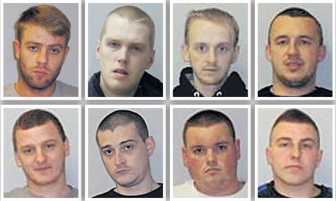Thomas Bruffell, top left, was the last of the group to be sentenced.