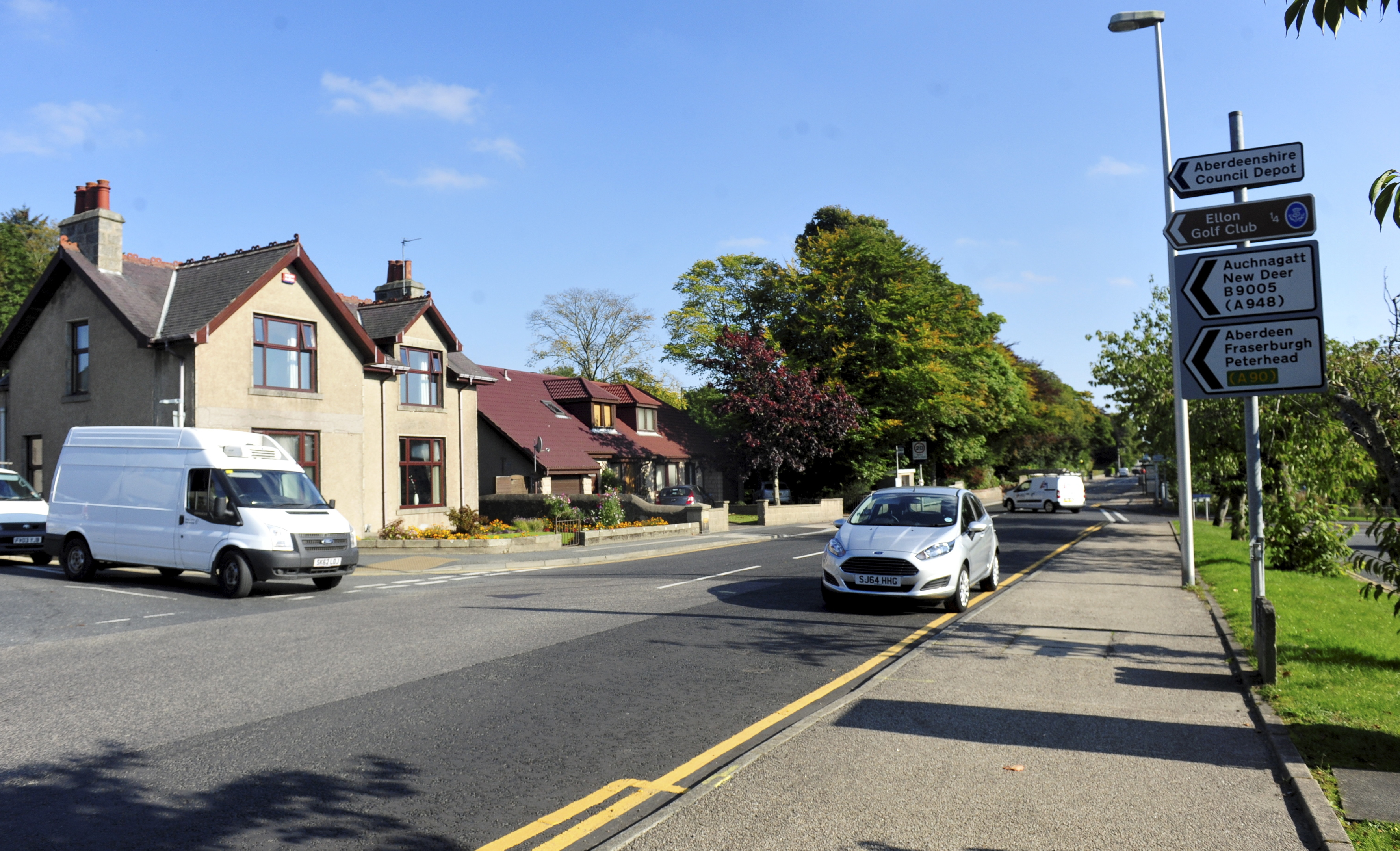 The Hospital Road junction with Station Road in Ellon where traffic lights could be installed.