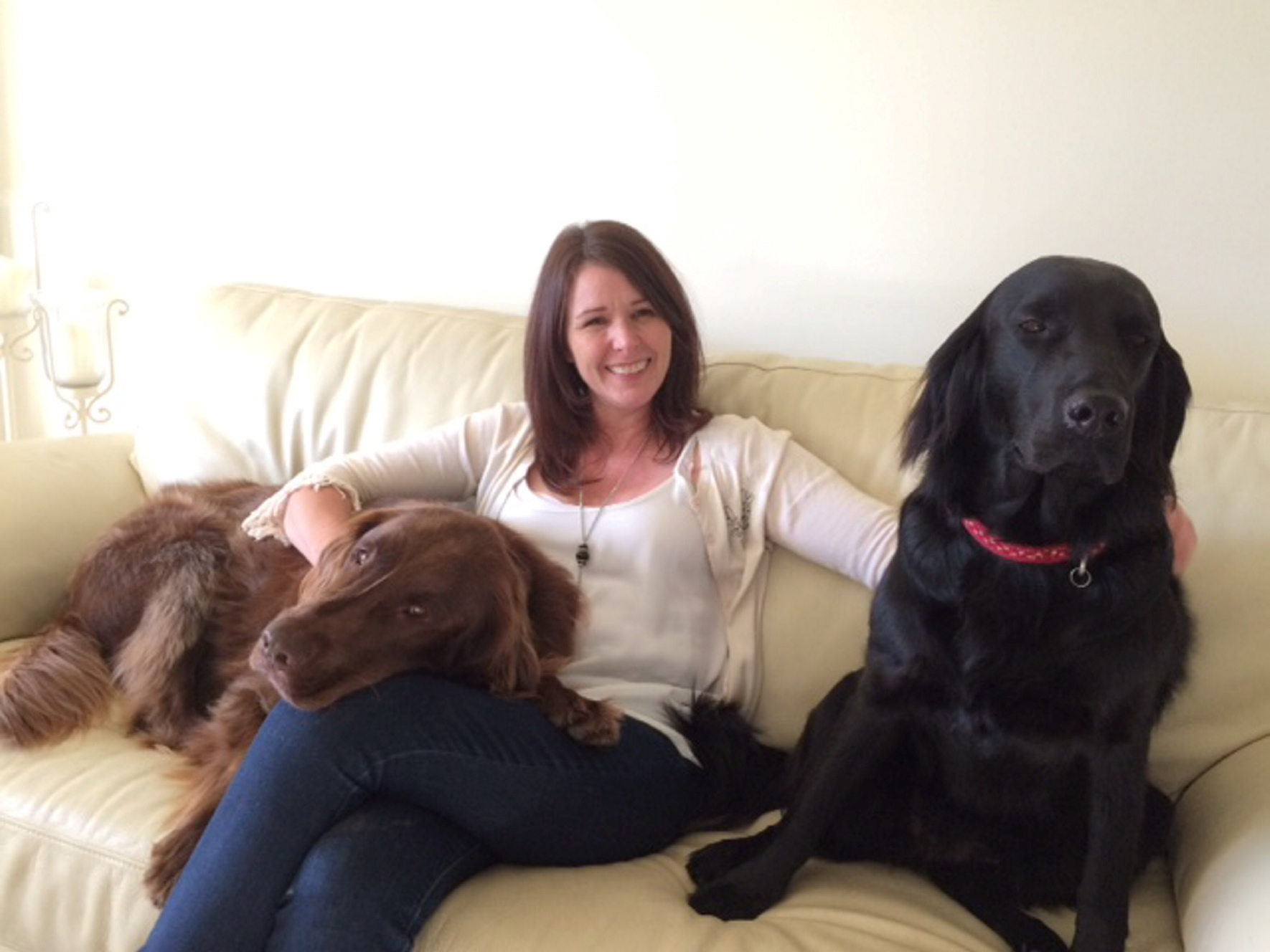 Lesley Gray with her dogs, Harry and Cricket.