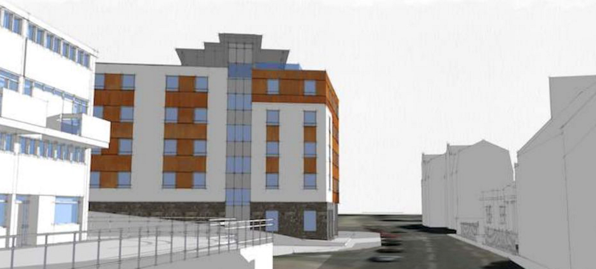 An artist's impression of the student flats plan.