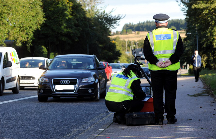 Aberdeen City Wardens use a  camera on Scotstown Road, Bridge of Don, in order to catch those driving in  the  bus lane.