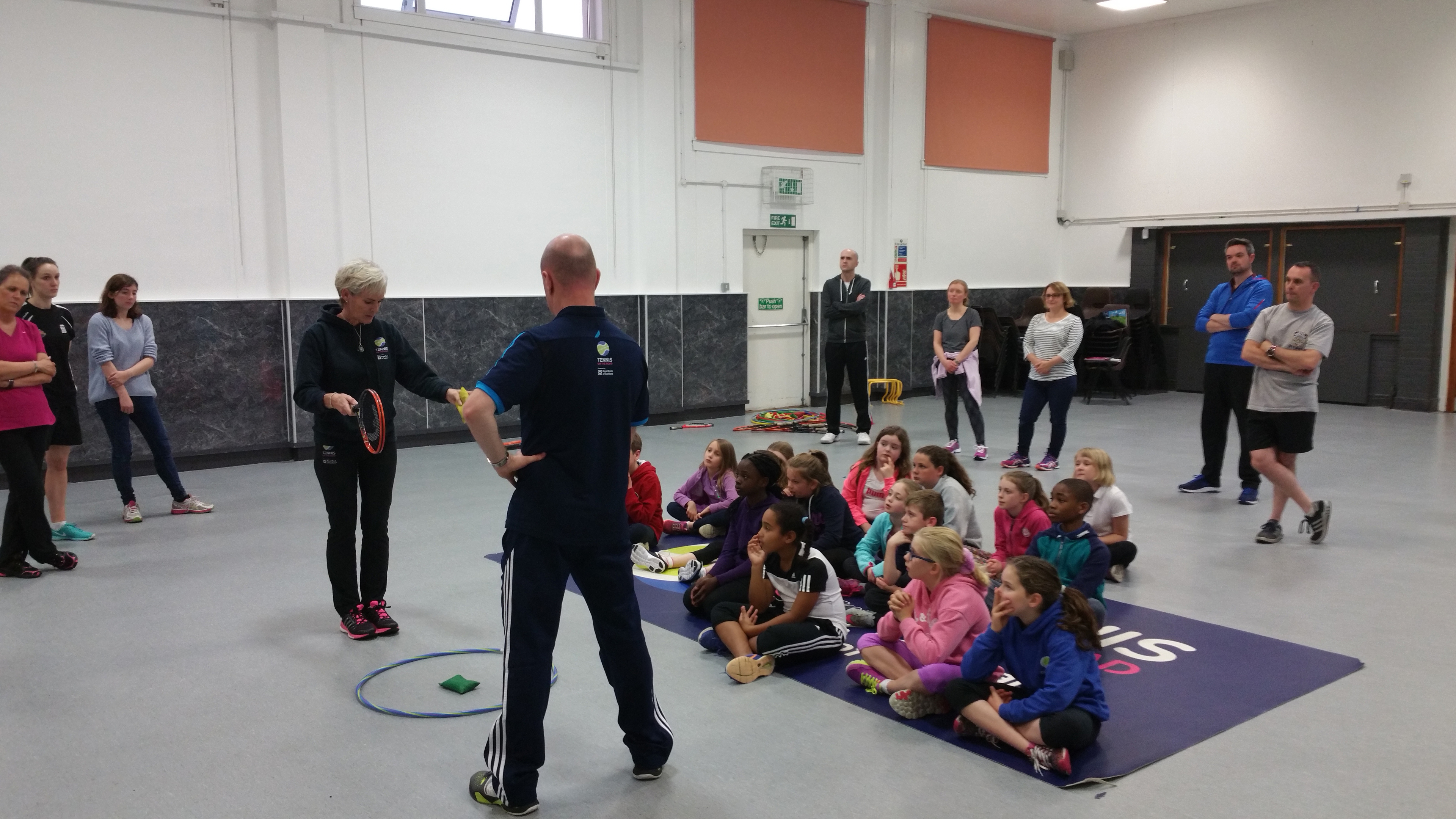 Tennis coach Judy Murray serves up a lesson at Aberdeen's Inchgarth Community Centre.