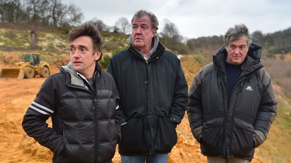Left to right, Richard Hammond, Jeremy Clarkson and James May