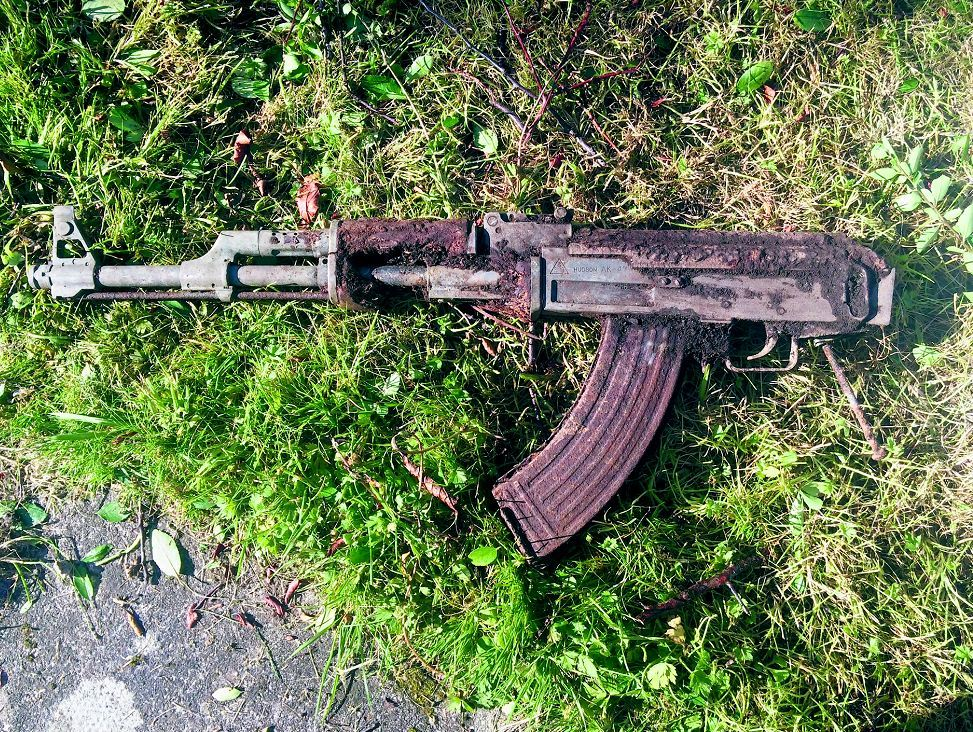 The replica AK-47 gun which was discovered.